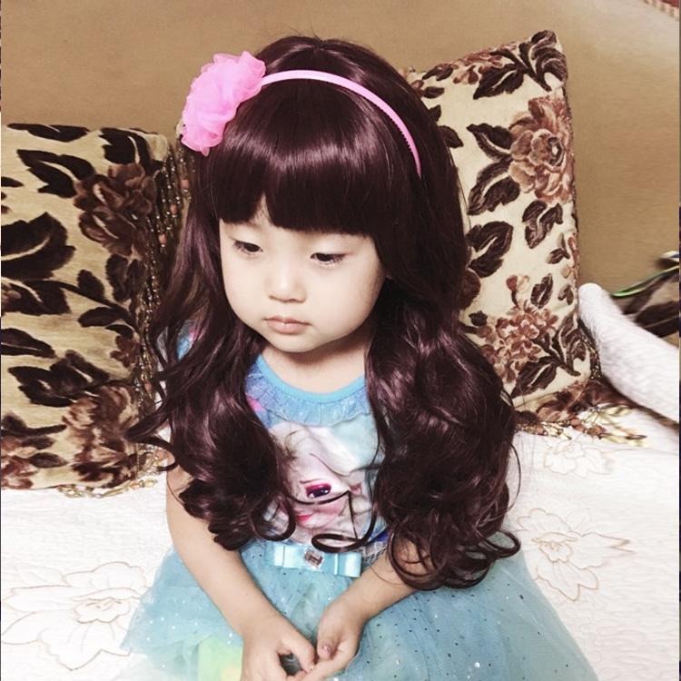韩版派照发套 女童假发长卷发 儿童假发发饰齐刘海刘海长卷发宝宝