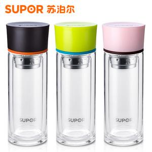 【清仓】苏泊尔竹韵玻璃杯双层水杯便携过滤茶杯耐热办公泡茶车载