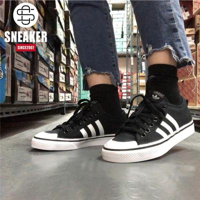 阿迪达斯 Adidas Nizza 三叶草复古情侣帆布鞋板鞋 B37856 A