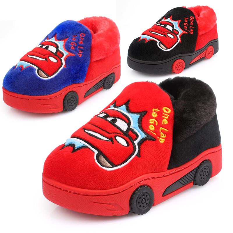 迪士尼儿童棉拖鞋冬季宝宝防滑保暖鞋汽车男童包跟棉鞋室内居家鞋