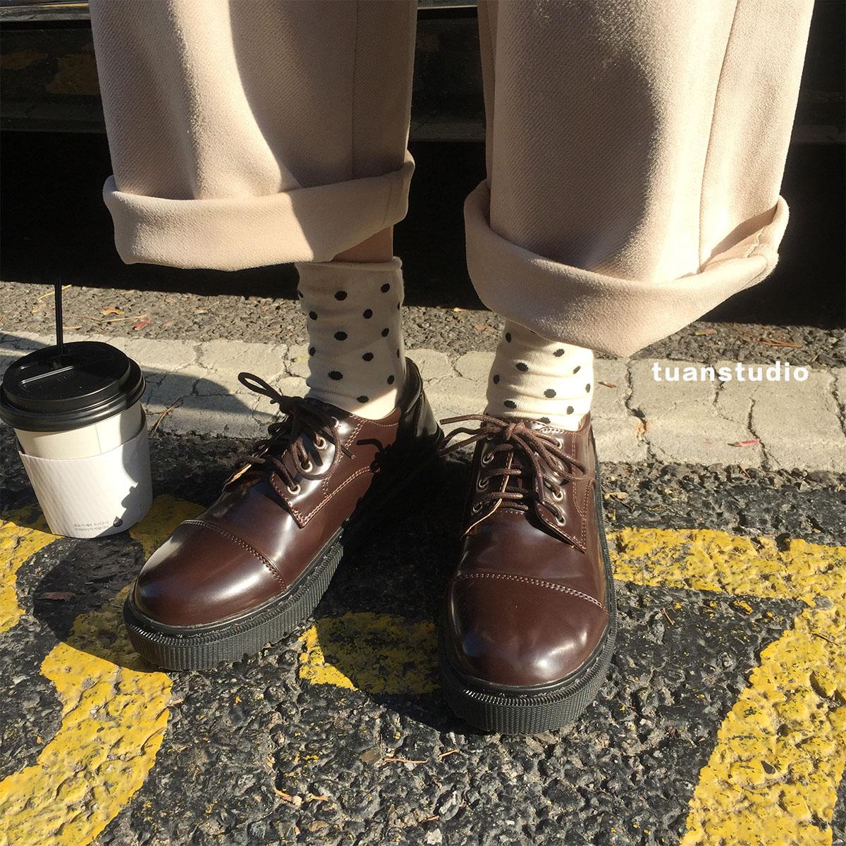 陆小团团 系带圆头小皮鞋百搭韩版学院风单鞋软妹休闲马丁鞋女