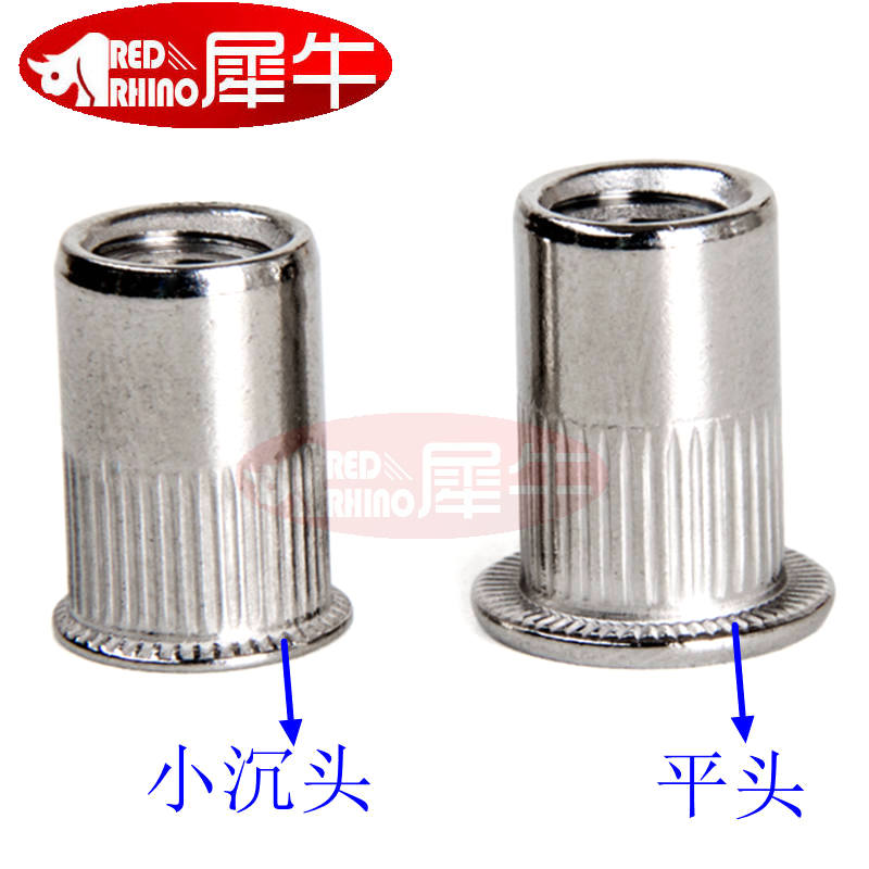 Rivet nut pull nut semi hexagon countersunk head size 304 stainless steel color zinc aluminum cap