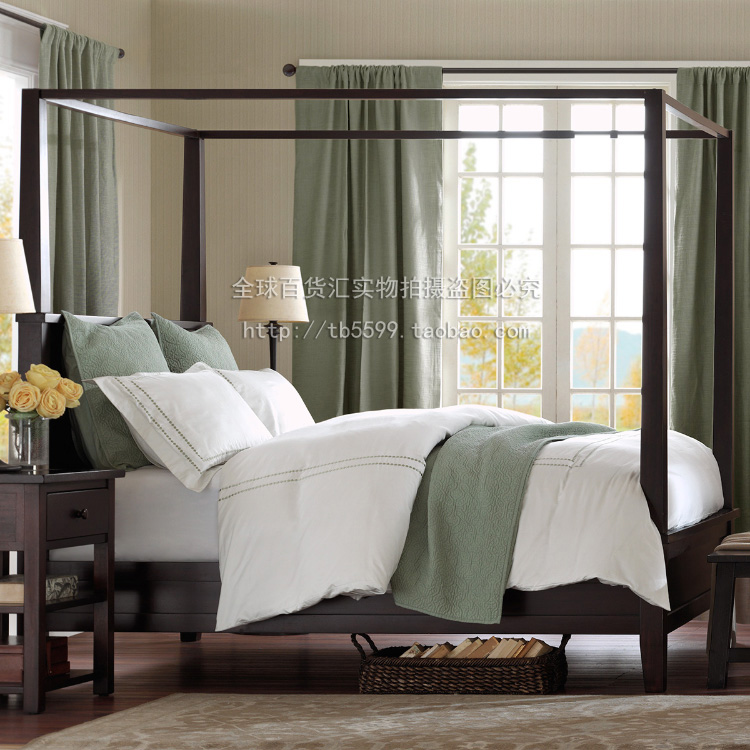 Mendocino four column bed, American red oak, 1.8 m 1.5harbor double bed, house bedroom