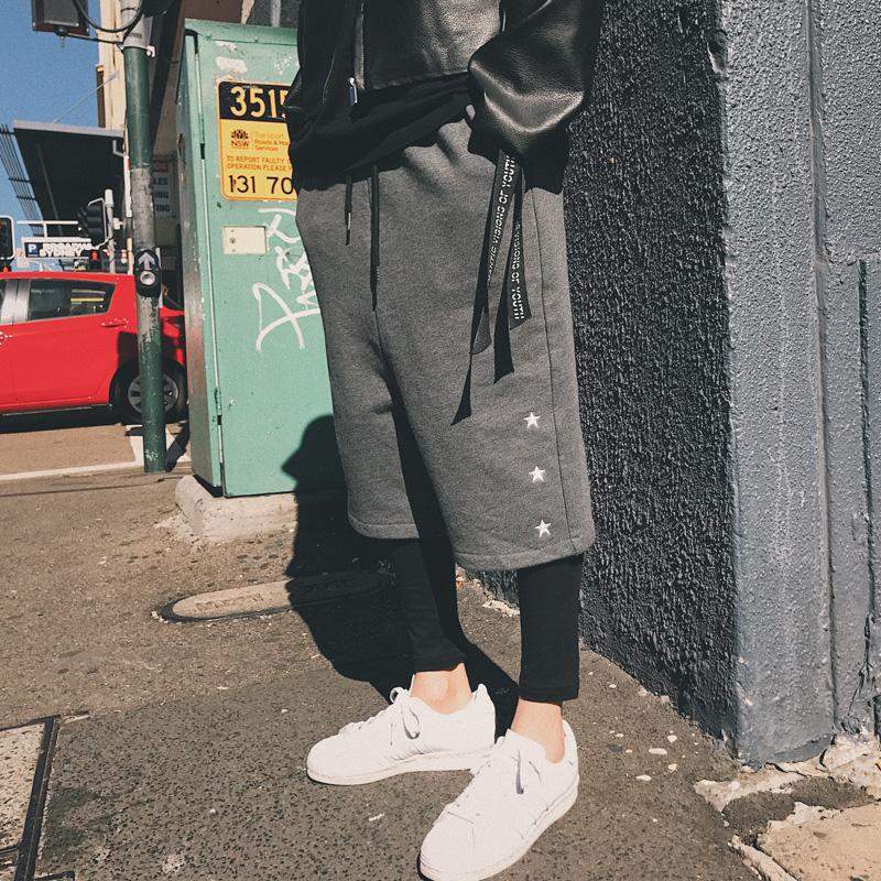 秋季林弯弯日系简约全棉直筒阔腿裤男韩国宽松青年七分休闲裤子潮
