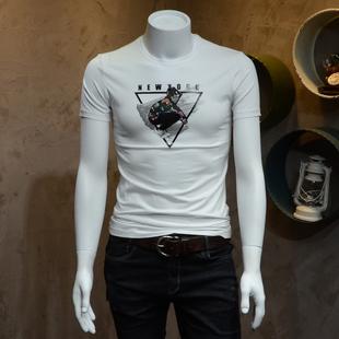 单身汉 欧洲站男式圆领短袖T恤衫2018夏装新款修身型男青年棉T恤