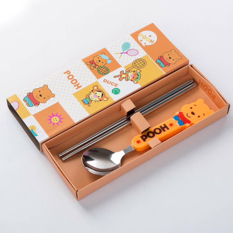 Portable tableware set cute cartoon plastic handle children anti-scald stainless steel chopsticks spoon gift boxed