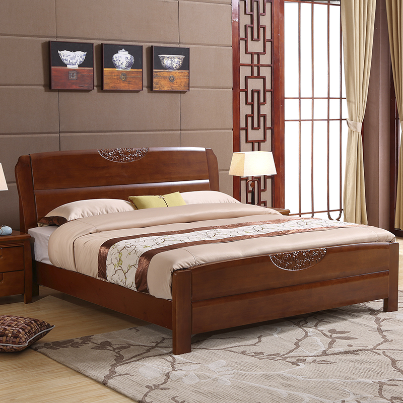 Chinese solid wood bed 1.8 meters high storage box bed 1.5M modern minimalist oak double wedding bed master bedroom furniture