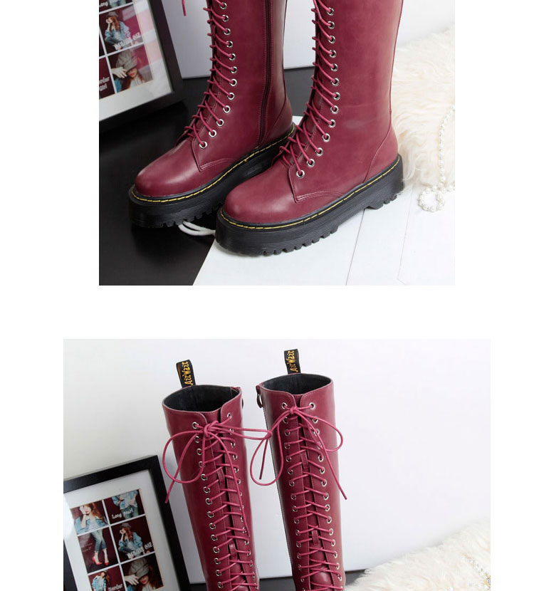 Womens Black Wine Red Platform Creepers Lace Up Knee High Combat