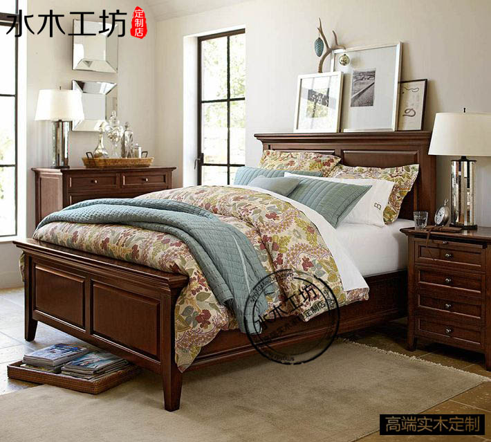 All solid wood American country modern minimalist solid wood bed double bed 1.5 meters full solid wood bedroom furniture oak