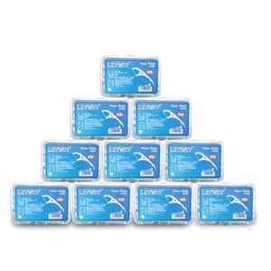 牙线棒10盒装500支超细线高拉力高分子线不易起毛牙签家庭装