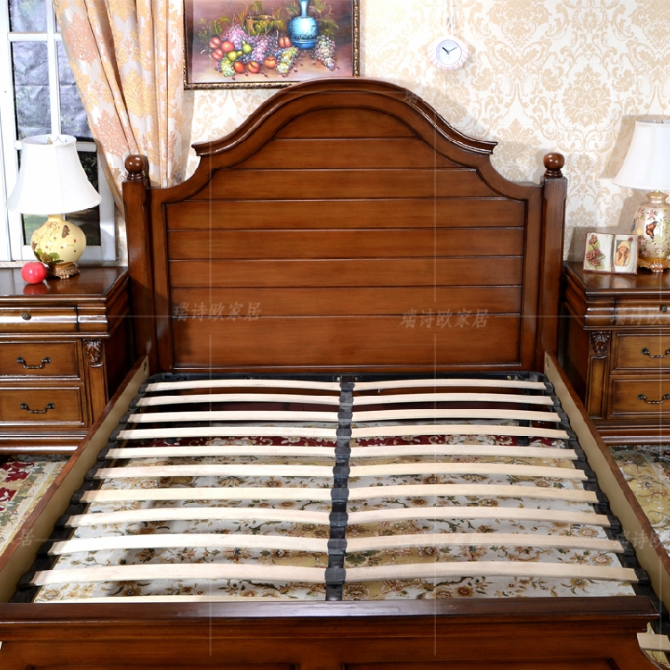 Swiss style European country solid wood furniture, retro bedroom, big bed, European style master bed, hot spot