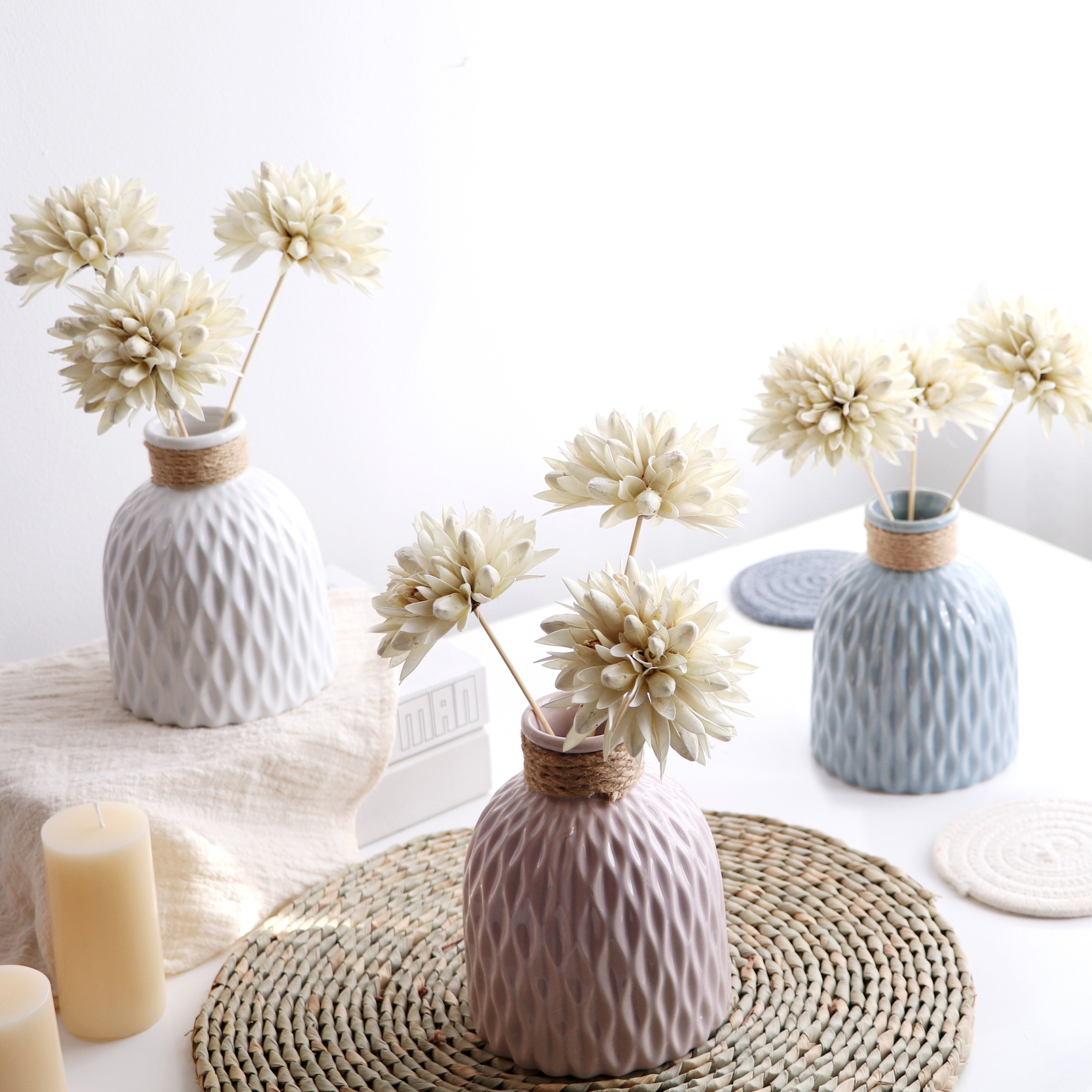 白色花瓶+3支玉蘭干花愛家簡約現代客廳家居擺件白色麻繩日式陶瓷文藝花瓶插花藝