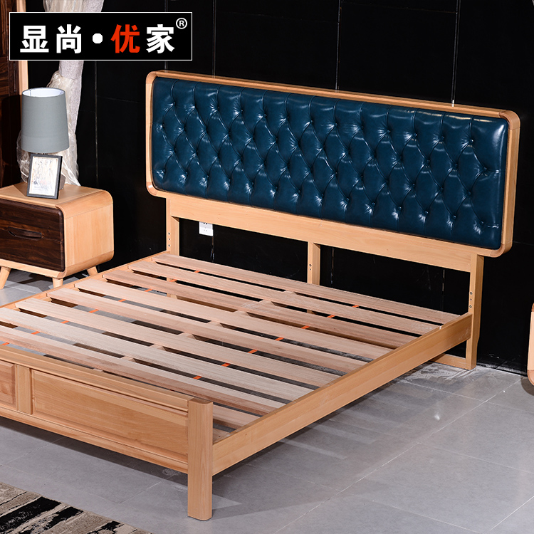 Show excellent home modern fashion, Nordic bedroom solid wood 1.5 meters, 1.8 meters double bed, leather solid wood solid bed