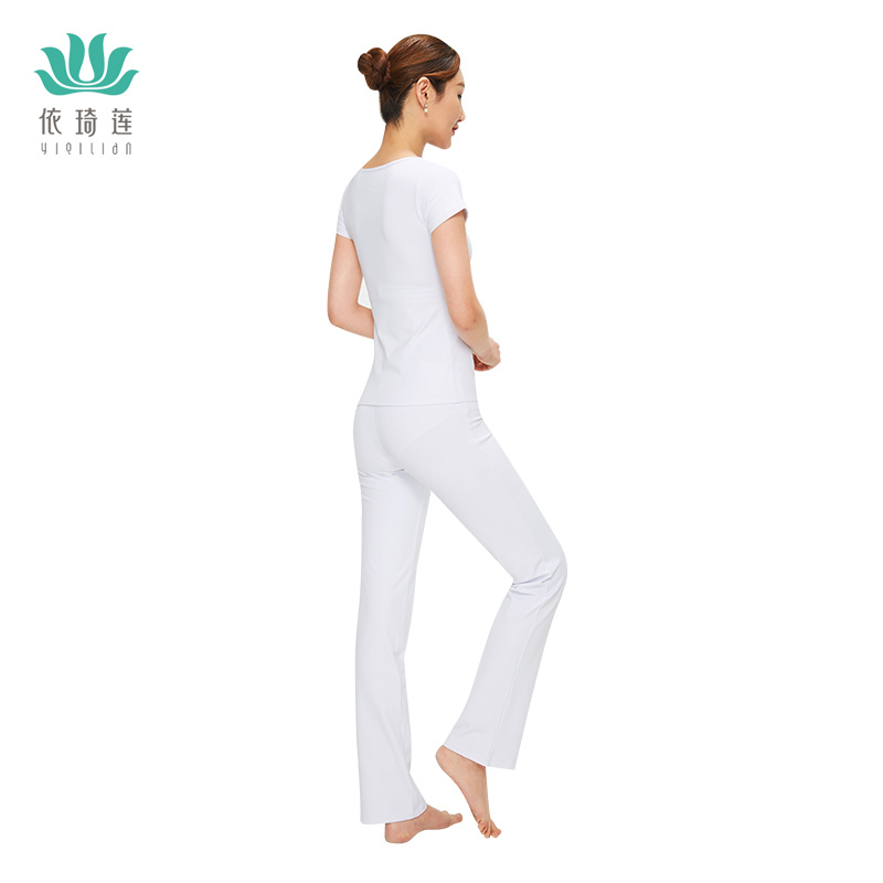 According to the Qilian spring summer new white suit Weila pants yoga fitness wear short sleeved Yoga costumes
