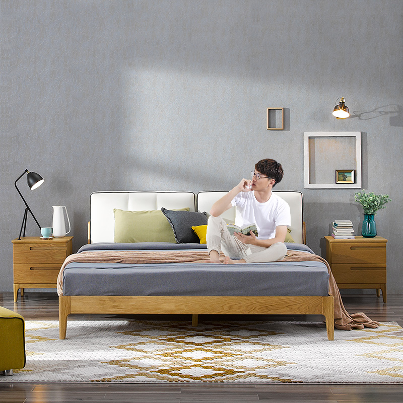 Furniture, white oak bed, 1.8 meters, 1.5 modern minimalist bedroom furniture, all solid wood double bed