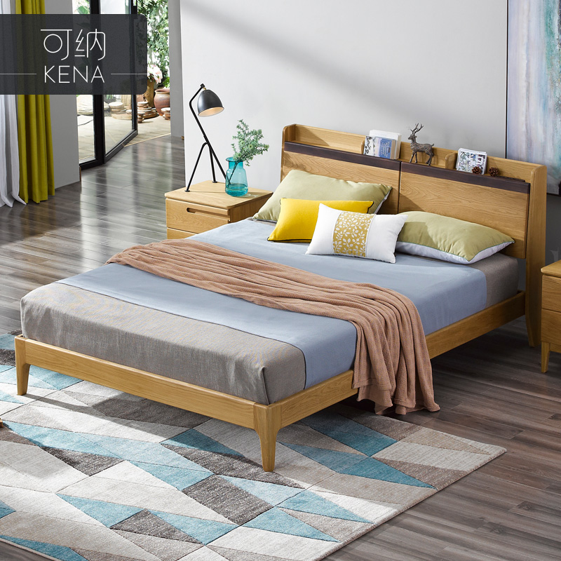 The double bed of pure solid wood furniture