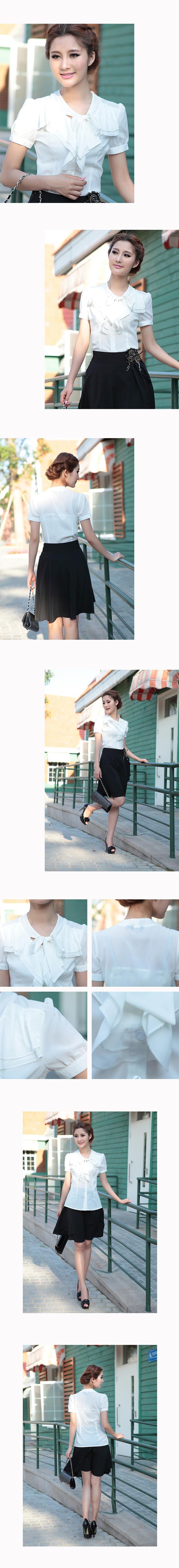 เสื้อเชิ้ตชีฟอง ทำงาน แฟชั่นเกาหลี ฟอร์มพนักงาน นำเข้า ไซส์S/M/L สีขาว แขนสั้น - พรีออเดอร์ML3542
