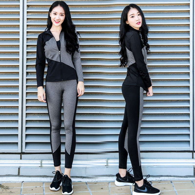 Autumn and winter Yoga suit thin female fitness running clothing size mm long sleeved jacket collar fat four set