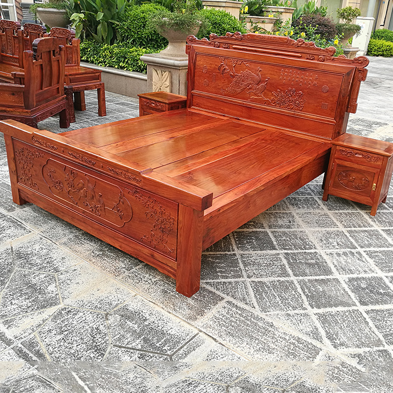 High grade 1.8m solid wood bed, mahogany furniture bed double bed, rosewood rosewood double bed in Burma can be processed and customized