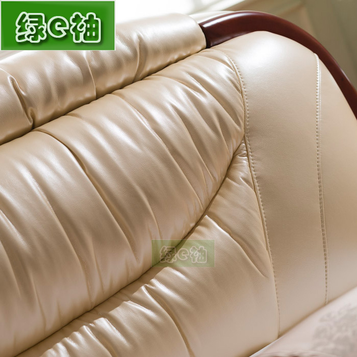 Brand leather double 1.8 meters high-grade solid wood bed simple modern marriage bed Zhuwo package logistics home