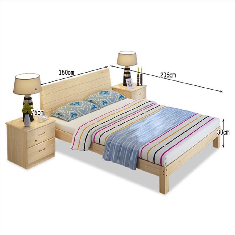 Log 1.5 double 1.8 pine wood frame single bed modern simple child bed 1.2 bed dipropionate