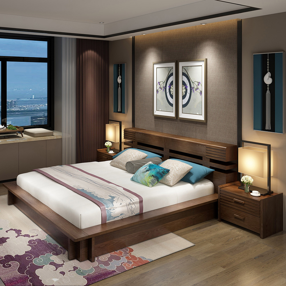 The master bedroom willow wood bed 1.8 meters 1.5 meters southeast Asian style tatami bed double bag home three