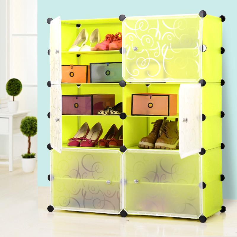 Een stof die gele schoen schoenenrek vergadering lagen kunststof met eenvoudige economische versterking van speciale