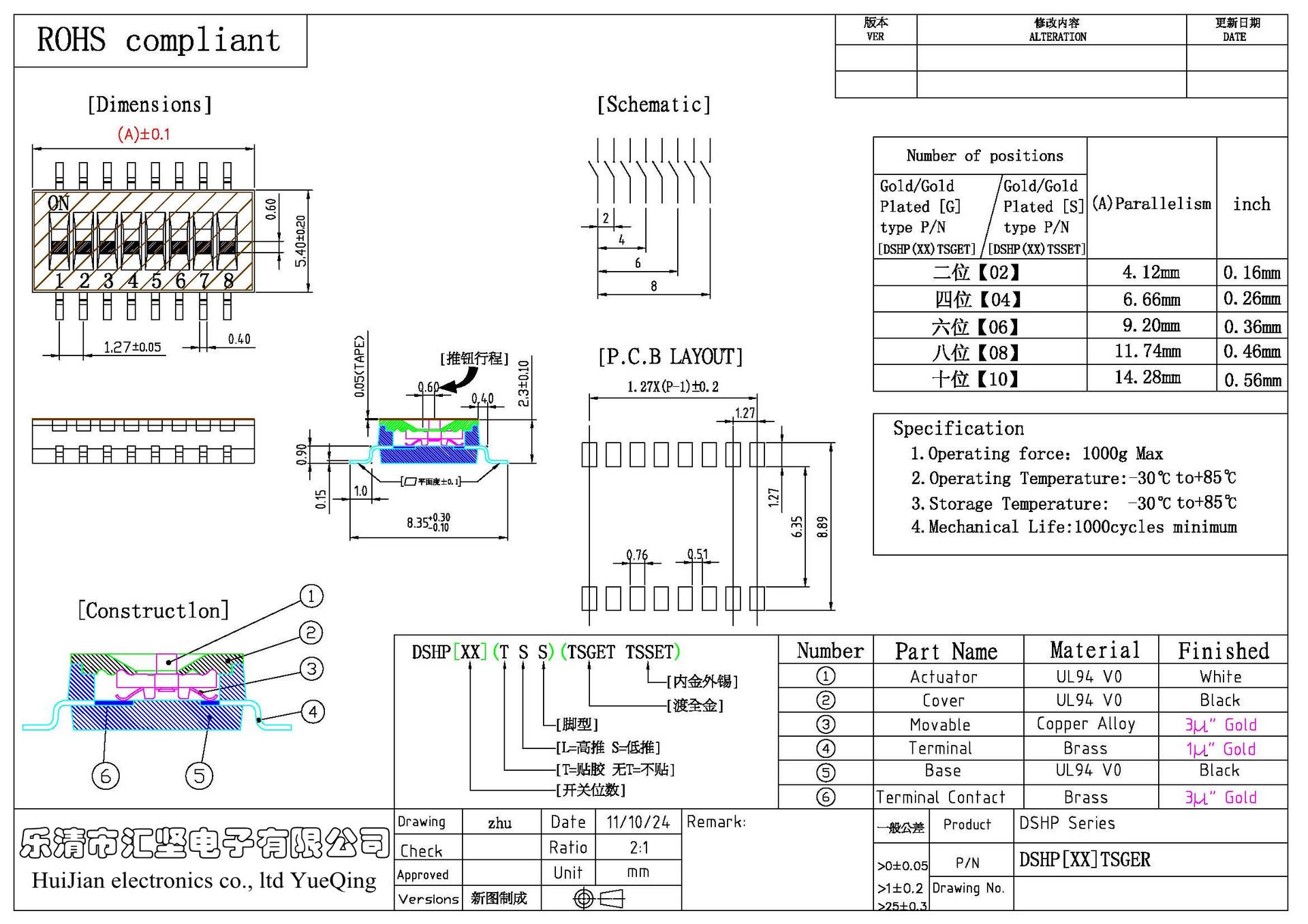 Distância de Quatro DSHP04TSGER 1,27 patch importado de Taiwan KE4 via dip switches