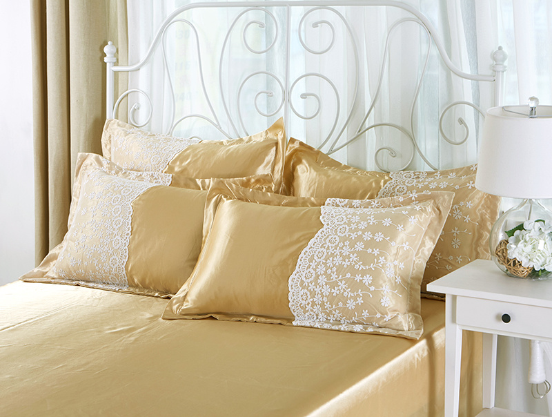 Carnival # Korean Princess Satin soft cotton lace four piece Silk Satin Jacquard bed