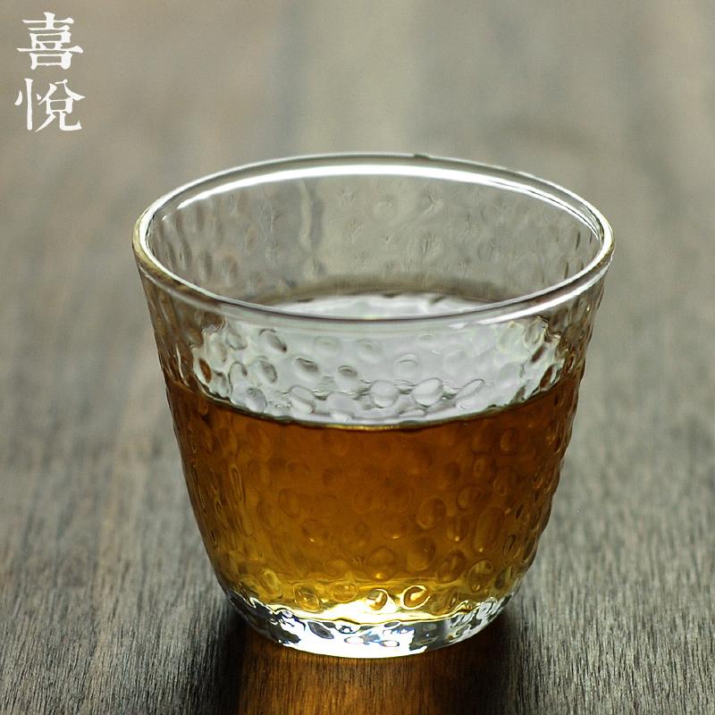 喜悅茶鋪/錘紋玻璃茶杯燒酒杯和風錘目紋賞茶杯手工小品茗杯/小野