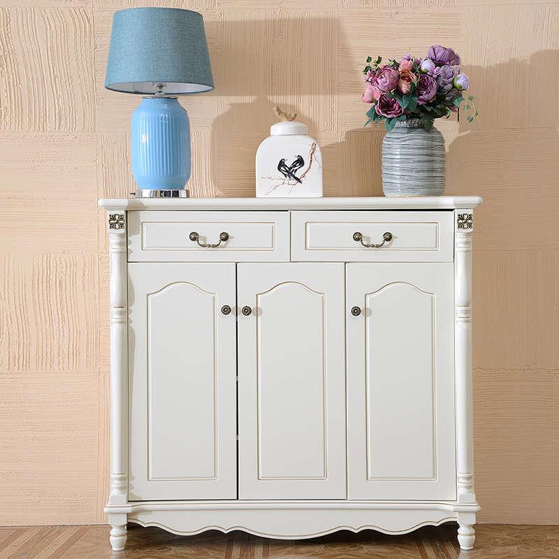 American rural field shoe cabinet solid wood to open door hall cabinet European multi-function storage cabinet white porch