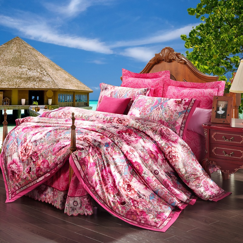 Four sets of cotton jacquard satin sheets and bedding Tencel 1.8/2.0 m bed folk style cotton bag mail