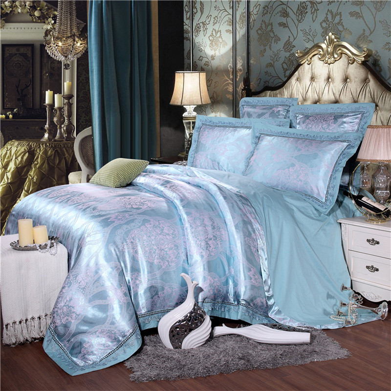 The sheets of 4 sets of four sets of summer bedding Tencel modal silk blue double printing quilt
