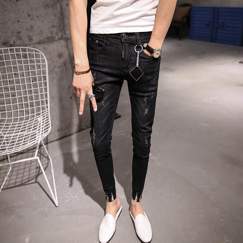 韩国时尚冬季黑色水洗做旧牛仔裤男 韩版修身磨烂裤脚九分小脚裤