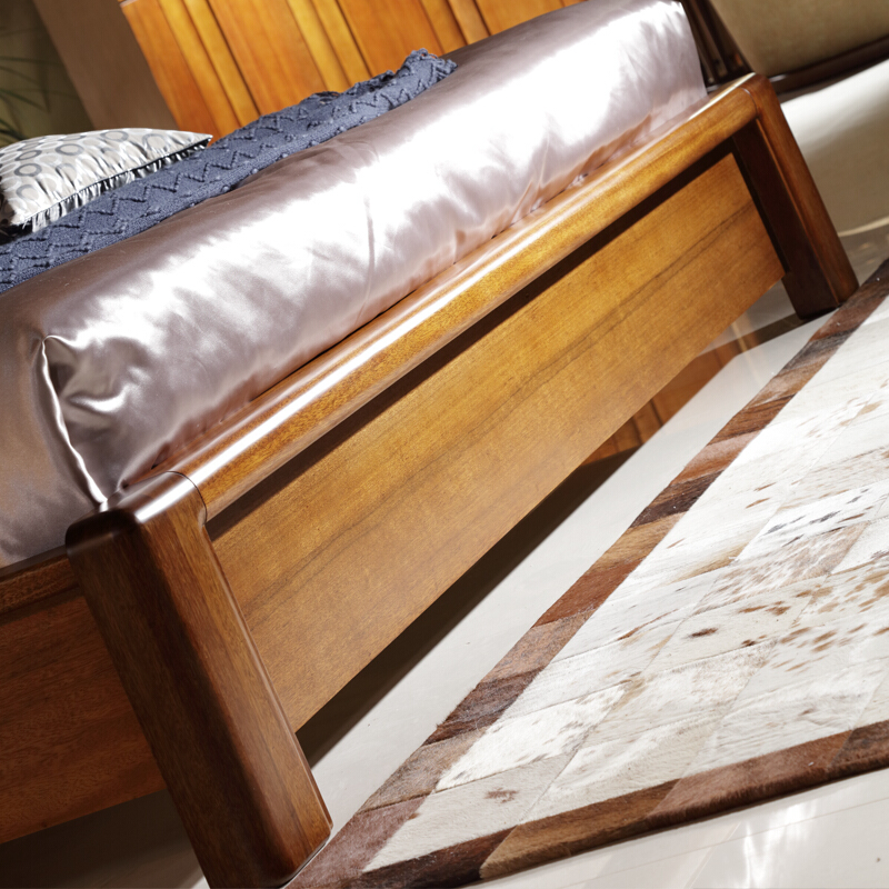 Modern new Chinese bed, master bedroom, all solid wood bed, walnut double bed, 2 meters, 2.2 meters large bed 1.8m storage