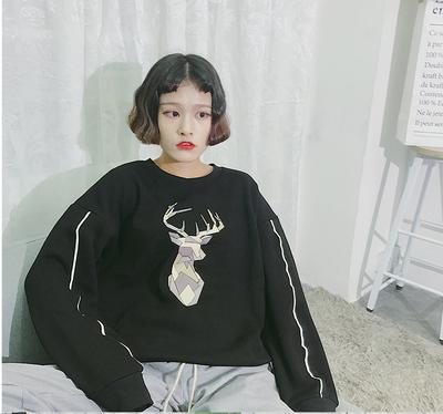 实拍~秋冬装 新款韩版BF男友风加绒加厚宽松小鹿蝙蝠袖卫衣