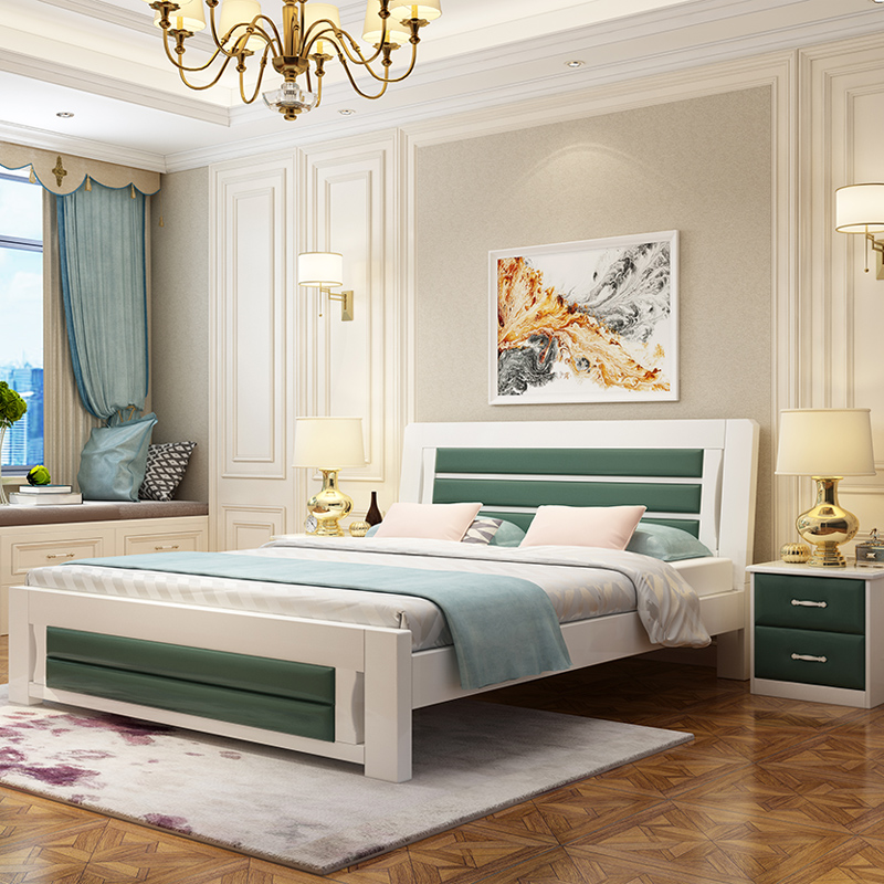 Free installation double bed, modern minimalist master bedroom, all solid wood bed 1.5m meters, economical 1.2 meters single package installation