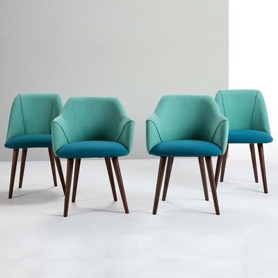亚丁椅北欧餐椅书房扶手布艺简约休闲洽谈餐厅咖啡书桌椅实木椅子