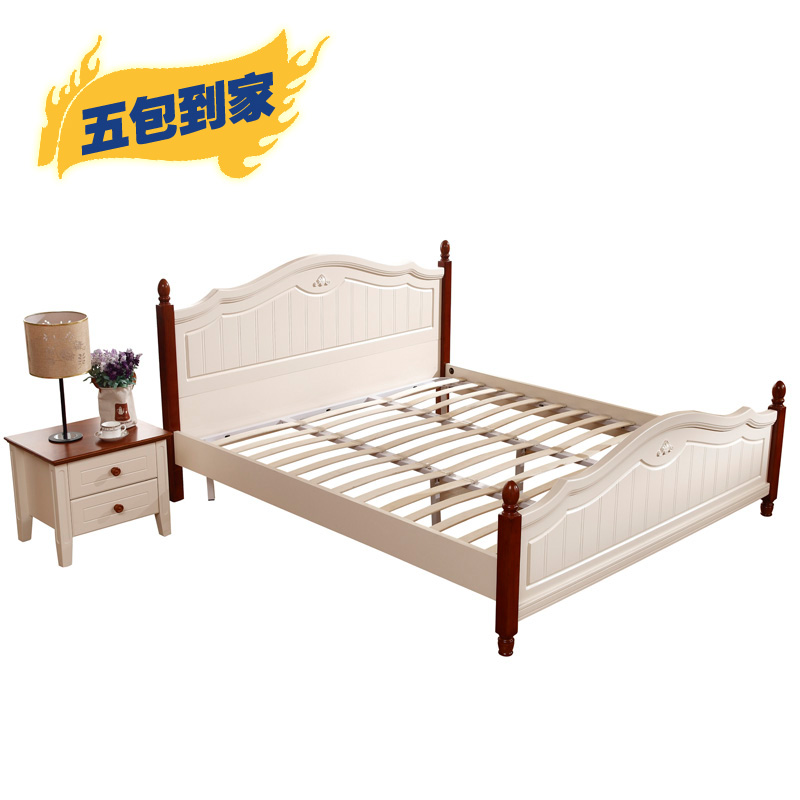 Mediterranean solid bed oak 1.8 double bed children's bed furniture combination European style marriage bed high box adult