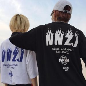 实拍韩国ins同款复古火焰字母印花短袖T恤男女款