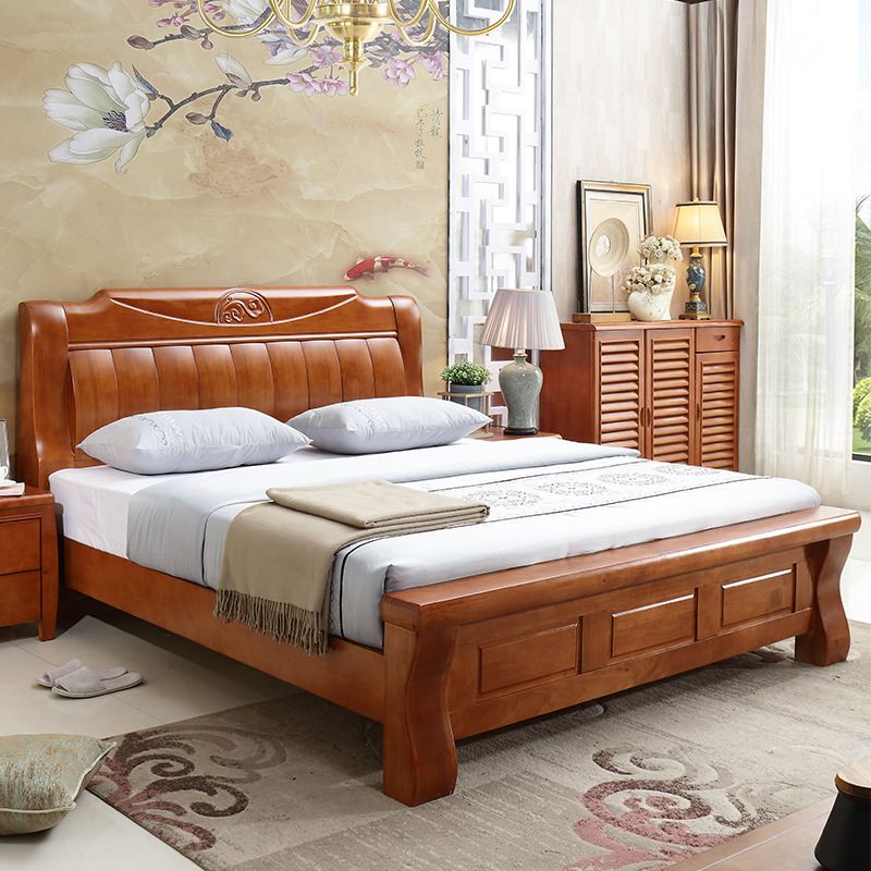 The new Chinese modern minimalist wooden bed solid oak 1.5M single 1.8 meters double bed pure wood storage