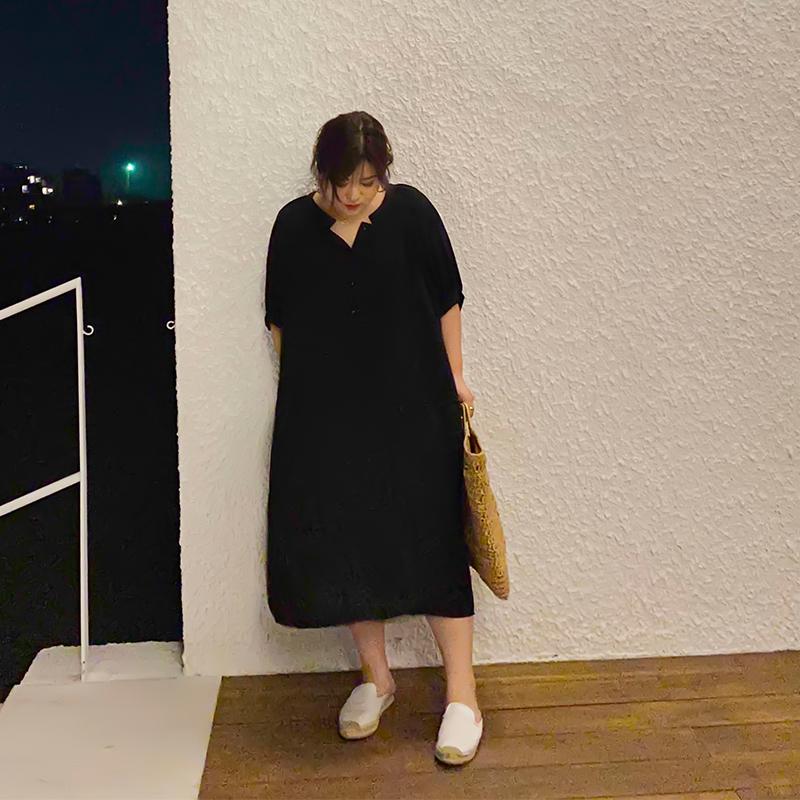 木子理想2020新款夏季大码胖mm连衣裙衬衫领遮肚子显瘦减龄长裙