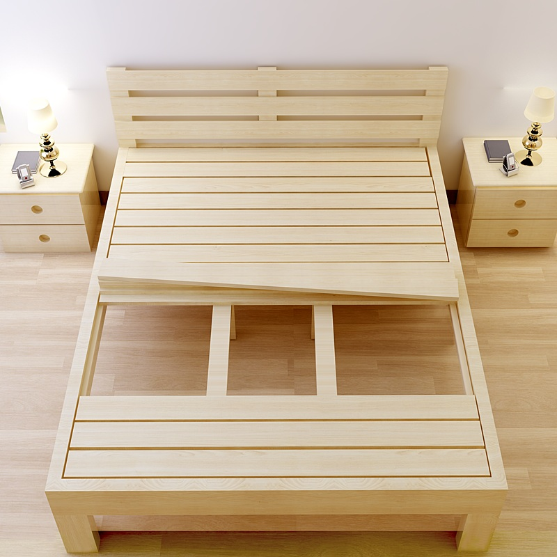Postage meter bed pine wood double 1.51.8 children bed single bed 1 meters 1.2 meters of simple wooden bed