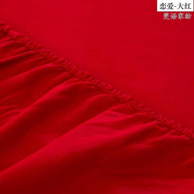Double - Red Satin Jacquard and embroidery Cathy four piece cotton bed single wedding 1.5/1.8/2.0m