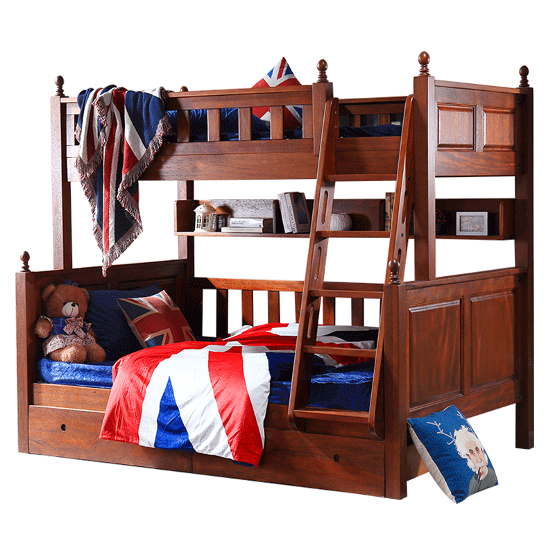 All solid Muzi mother bed, mother child bed, child bed, high-low bed, American bunk bed, bunk bed, solid wood bed