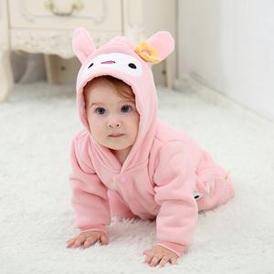 春季0新生儿连体衣服1岁秋冬季3个月女宝宝纯棉6婴儿加厚哈衣秋装
