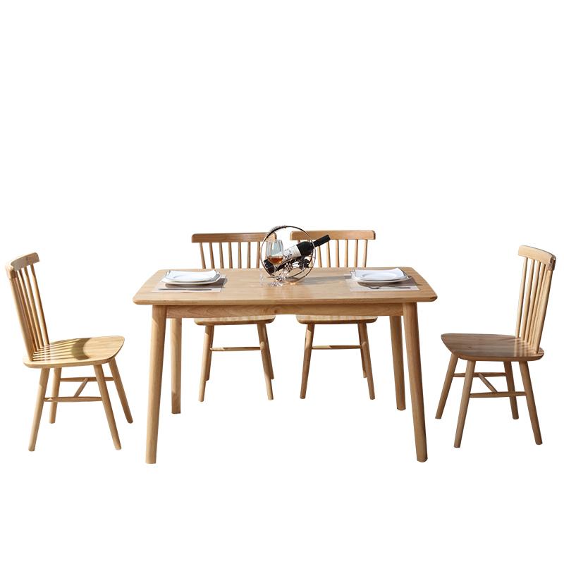 Combinaison de tables et de chaises en bois massif, nordique en forme de table en bois de création de table de petites unités de meuble en chêne de tables et de chaises