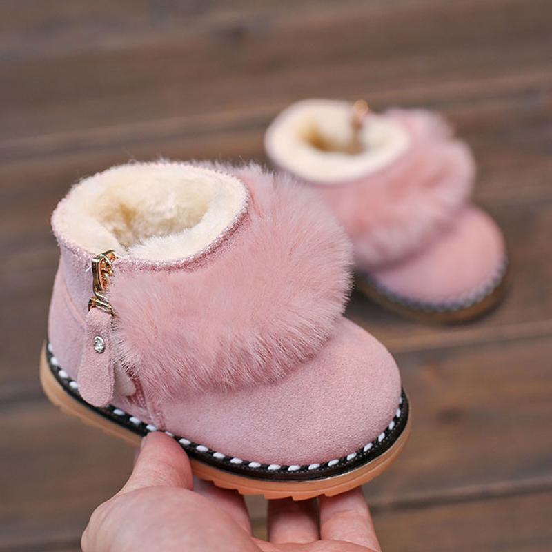 婴儿学步鞋冬季软底棉鞋女童短靴真皮公主宝宝靴子0-1岁2-3雪地靴