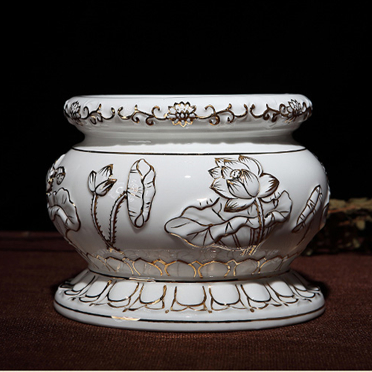 перегородчатая рельефные Lotus чистого 2 керамики для домашнего интерьера освятить храм Будда кадило ладан включить ладан Ароматерапия печь