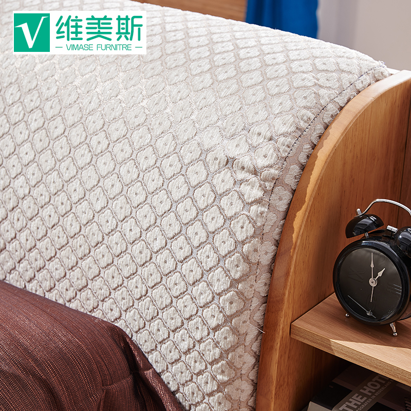 Solid wood bed on soft tatami bed Nordic 1.5m1.8 meters double bed modern new Chinese type bed drawer